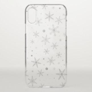 Funda Para iPhone X Copo de nieve del centelleo - gris y Blanco de