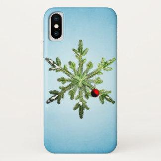Funda Para iPhone X copo de nieve, día de fiesta, navidad, collage,