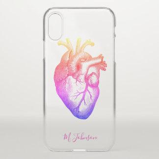 Funda Para iPhone X Corazón del arco iris personalizado