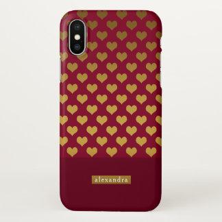 Funda Para iPhone X Corazones de moda de Borgoña y del oro