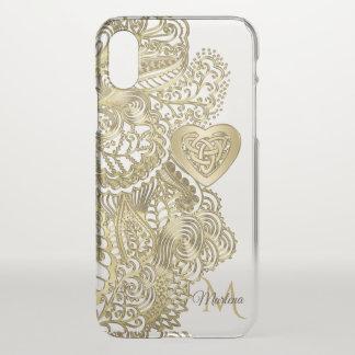 Funda Para iPhone X Cordón del oro del monograma y corazón céltico
