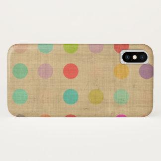 Funda Para iPhone X Crema del beige de Tourquise de los lunares del