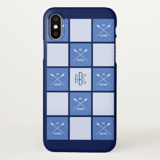 Funda Para iPhone X Cuadrados azules oarsome del monograma de los