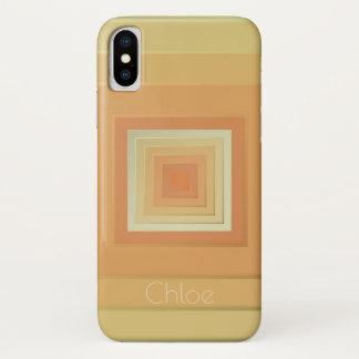 Funda Para iPhone X Cuadrados geométricos con clase (amarillos suaves