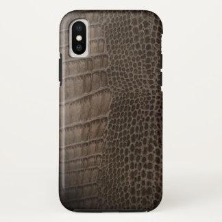 Funda Para iPhone X Cuero clásico del reptil del cocodrilo (falso)