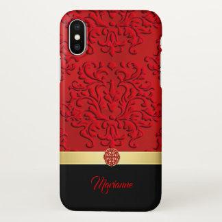 Funda Para iPhone X Damasco rojo y negro y caso céltico del iPhone X