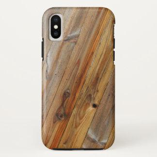 Funda Para iPhone X Diagonal de madera del tablón