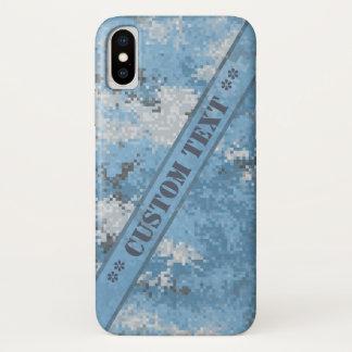 Funda Para iPhone X Digi azul Camo con el texto de encargo