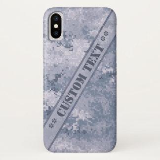 Funda Para iPhone X Digi gris Camo con el texto de encargo