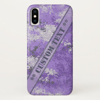 Funda Para iPhone X Digi púrpura Camo con el texto de encargo
