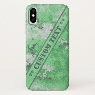 Funda Para iPhone X Digi verde Camo con el texto de encargo