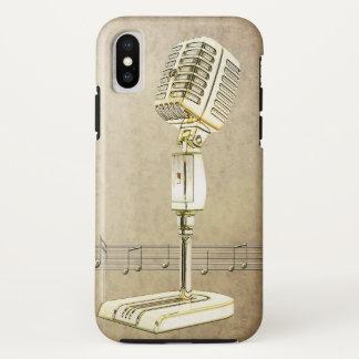 Funda Para iPhone X Diseño del micrófono del vintage