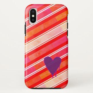 Funda Para iPhone X Duro púrpura de fusión del corazón