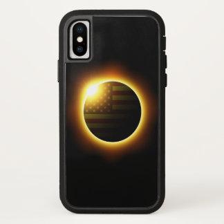 Funda Para iPhone X Eclipse solar con la bandera americana