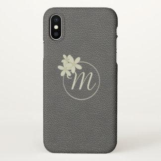 Funda Para iPhone X Efecto de cuero negro con monograma