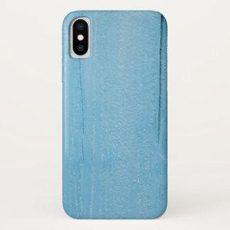 Funda Para iPhone X El azul pintó la cubierta de madera del iPhone X,