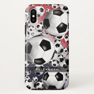 Funda Para iPhone X El fútbol de las mujeres azules blancas rojas de