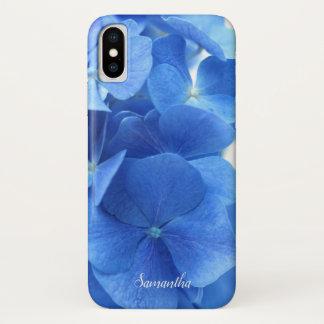 Funda Para iPhone X El Hydrangea azul florece personalizado