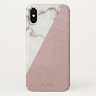 Funda Para iPhone X El mármol moderno del monograma se ruboriza mirada