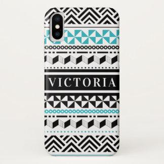 Funda Para iPhone X El negro tribal moderno y la aguamarina zigzaguean