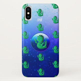 Funda Para iPhone X ¡El Nessie pequenito personalizado agita hola!