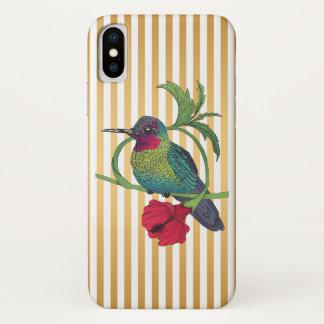 Funda Para iPhone X El oro del pájaro de Colibri raya la caja del