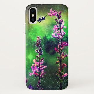 Funda Para iPhone X El rosa florece la abeja de N contra el mundo