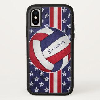 Funda Para iPhone X el voleibol de las estrellas azules de las mujeres