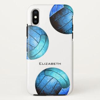 Funda Para iPhone X el voleibol de las mujeres personalizadas azules