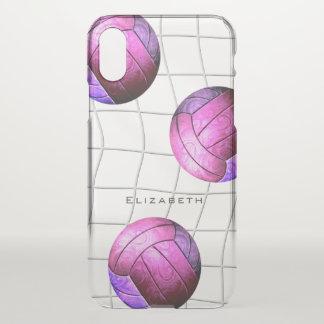 Funda Para iPhone X el voleibol de las mujeres púrpuras rosadas