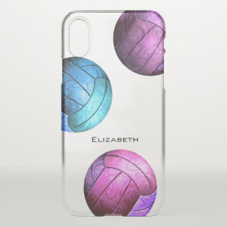 Funda Para iPhone X el voleibol de las mujeres púrpuras rosadas de la