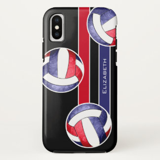 Funda Para iPhone X el voleibol rojo de las mujeres blancas y azul