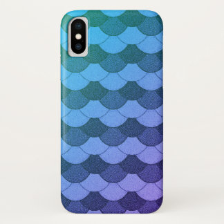 Funda Para iPhone X Escalas azules de la sirena de Ombre