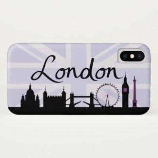 Funda Para iPhone X Escritura de Londres en el cielo de Union Jack y