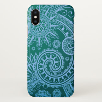 Funda Para iPhone X Estampado de flores del azul de Paisley