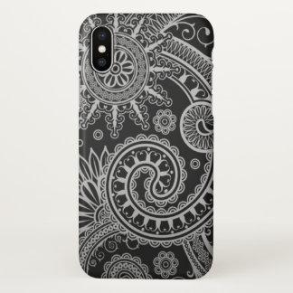 Funda Para iPhone X Estampado de flores negro y gris de Paisley