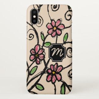 Funda Para iPhone X Estampado de flores rústico con monograma