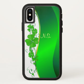Funda Para iPhone X Falsa onda del purpurina del oro afortunado del