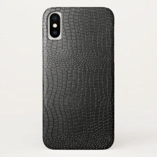 Funda Para iPhone X Falso modelo negro del cuero del piel de serpiente