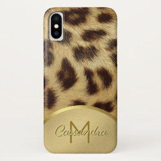 Funda Para iPhone X Falso oro Emossed del monograma de la piel del