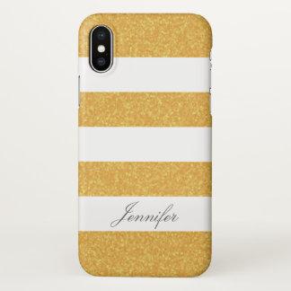 Funda Para iPhone X FALSO PURPURINA FRESCO de moda del ORO rayado