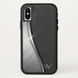 Funda Para iPhone X Fibra de carbono y metal cepillado 4