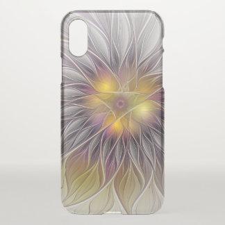 Funda Para iPhone X Flor colorida luminosa, fractal moderno abstracto