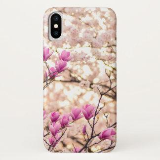 Funda Para iPhone X Flor púrpura rosada floreciente de la primavera de