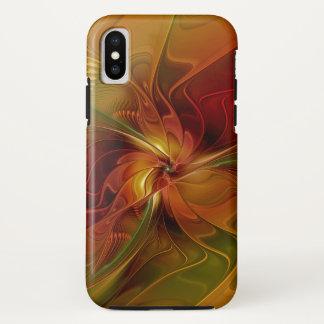 Funda Para iPhone X Flor verde anaranjada roja abstracta del arte del