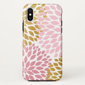 Funda Para iPhone X Floraciones florales de la dalia del oro rosado