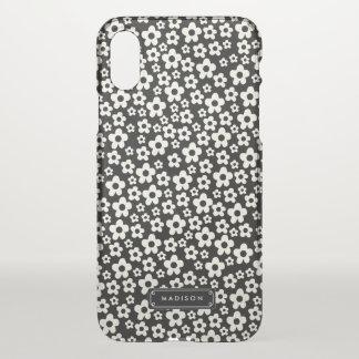 Funda Para iPhone X Floral blanco negro de la MOD de la moda