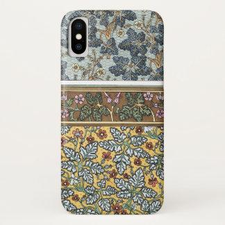 Funda Para iPhone X Flores florales del geranio salvaje de Nouveau del