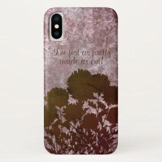 Funda Para iPhone X Flores románticas púrpuras de la momia en silueta