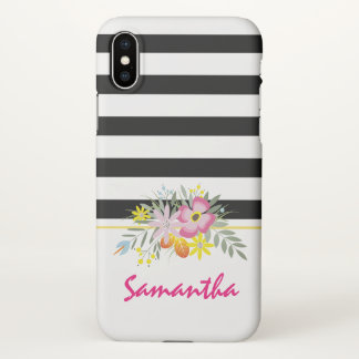 Funda Para iPhone X Flores rosadas y negro, rayas blancas